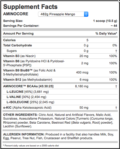 Ingredients for Allmax Nutrition: AMINOCORE BCAA (462g)
