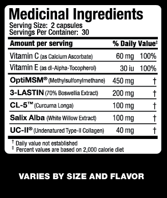 Ingredients for Allmax Nutrition: Advanced AllFlex (60 caps)