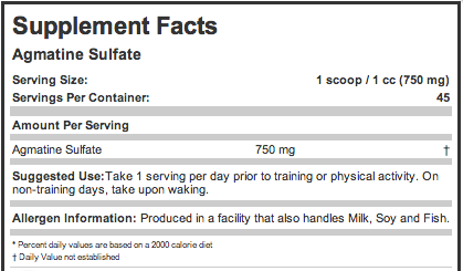 Ingredients for Allmax Nutrition: Agmatine Sulfate (34g)