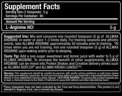 Ingredients for Allmax Nutrition: Arginine (400g)