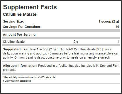 Ingredients for Allmax Nutrition: Citrulline Malate (300g)