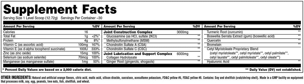 Ingredients for Animal Flex Powder (30 servings)