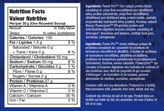Ingredients for Power Whey Complex (5 lbs)