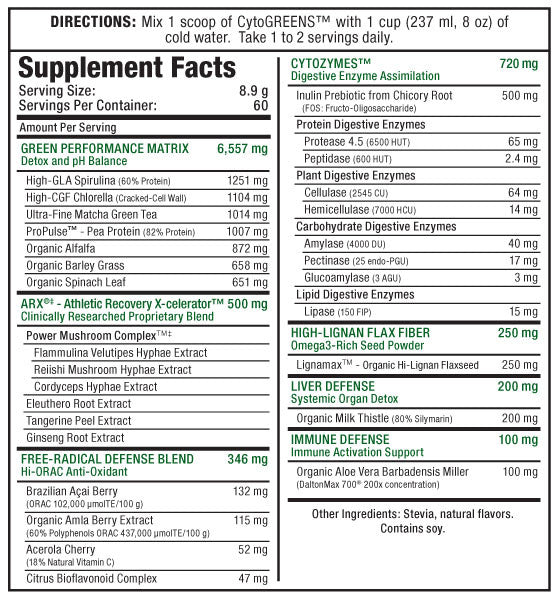 Ingredients for Novaforme CytoGreens (125g, 14 Servings)