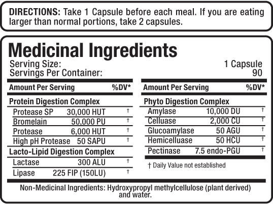 Ingredients for Digestive Enzymes (90 caps)