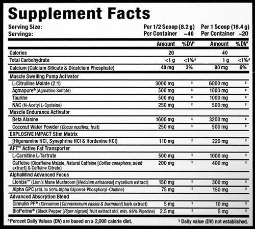 Ingredients for Allmax: IMPACT Igniter (20 Serving)