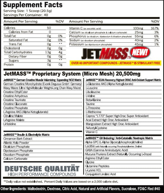 Ingredients for GAT JetMass (820g)