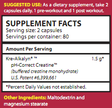Ingredients for Kre-Alkalyn EFX (*BONUS* 192 caps, 750 mg)
