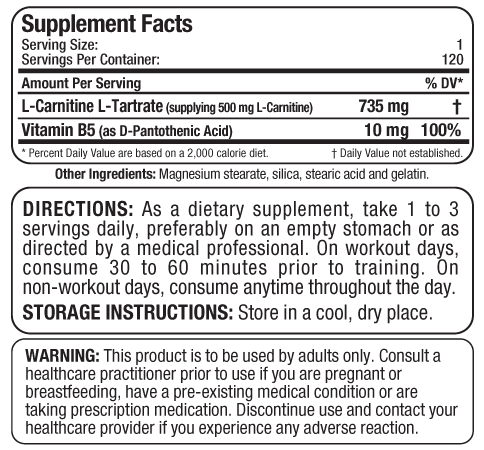 Ingredients for L-Carnitine (120 caps)