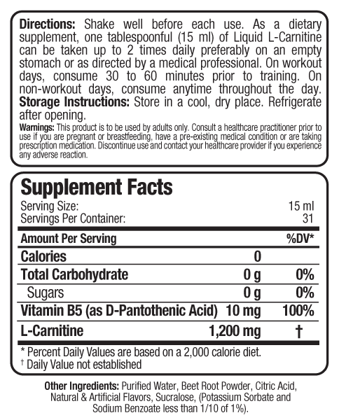 Ingredients for Liquid L-Carnitine (16oz)