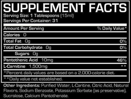 Ingredients for Pro Supps: L-Carnitine 1500 (473 ml)