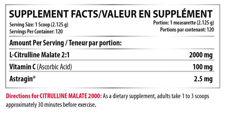 Ingredients for CITRULLINE MALATE 2000 (255g)
