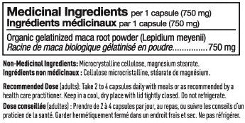 Ingredients for Vega Maca 750mg (60 Vcaps)