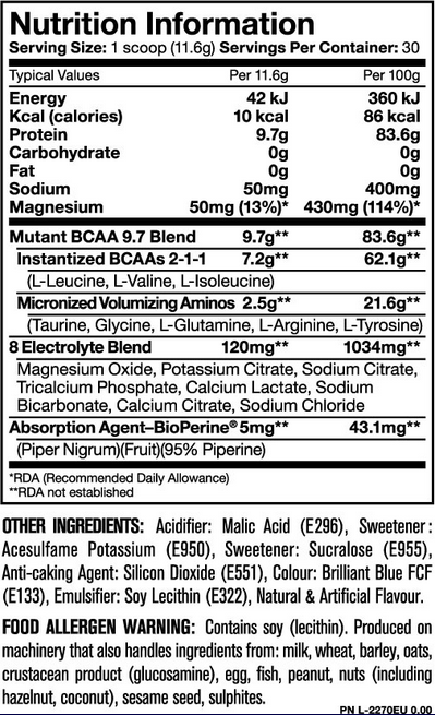 Ingredients for Mutant BCAA 9.7 (90 servings)