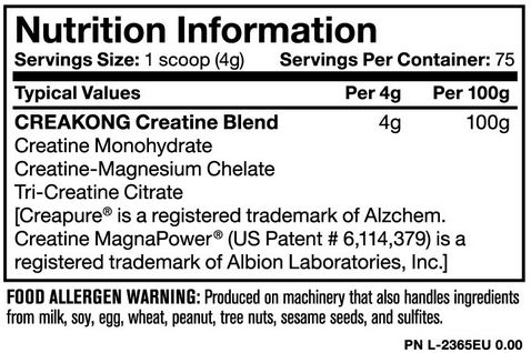 Ingredients for Mutant CreaKong (300g)