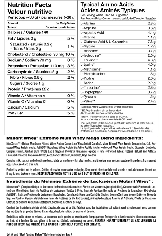 Ingredients for Mutant Whey (5 lbs)