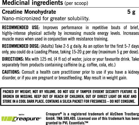 Ingredients for Creapure Creatine (410g)