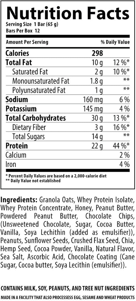 Ingredients for Nutrabolics FEED Real Food Protein & Oats Bar (12 bars)