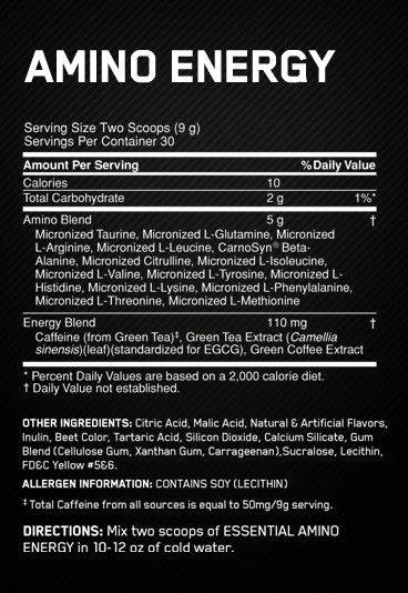 Ingredients for Essential Amino Energy (65 Servings)
