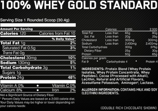 Ingredients for 100% Whey Gold Standard  (5 lbs)