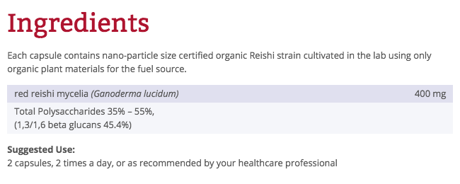 Ingredients for Red Reishi (120 capsules)