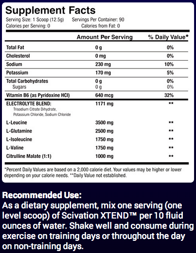Ingredients for XTEND (90 Servings) BB:06/19