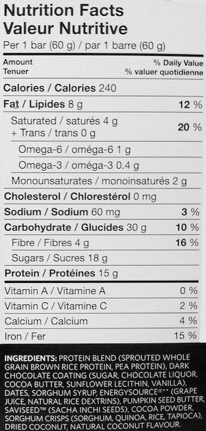 Ingredients for Vega Natural Plant-Based Protein Bar (Single Bar)