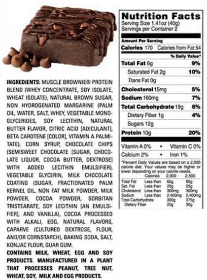 Ingredients for Lenny & Larrys Muscle Brownie (Box of 12)