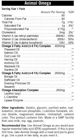 Ingredients for Animal Omega (30 Servings)