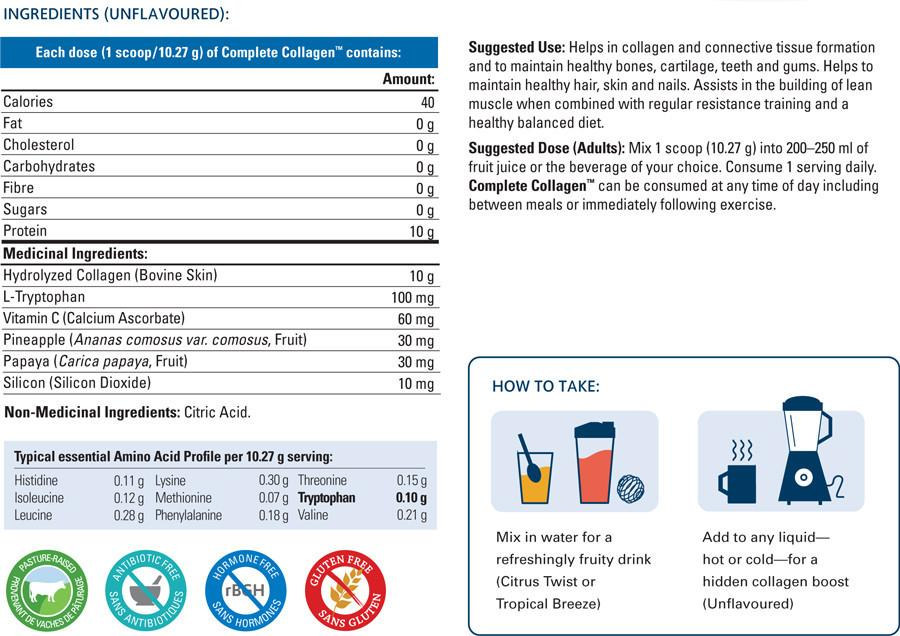 Ingredients for Complete Collagen (500g)