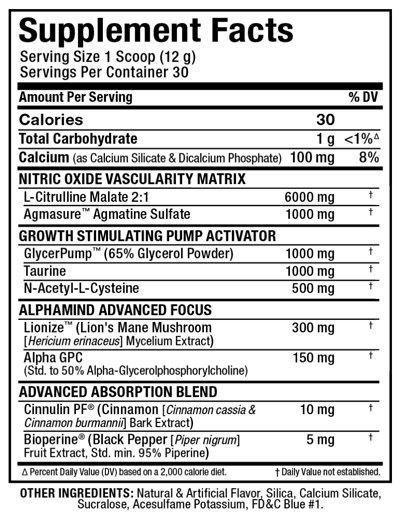 Ingredients for Allmax Impact Pump (30 serving)