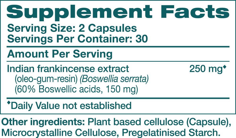 Ingredients for Boswellia (30 caps)