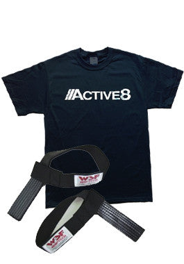 World Standard Fitness  Griptech Rubberized Lifting Straps (Non-padded) & Active8 T-Shirt