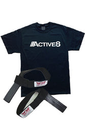 Griptech Rubberized Lifting Straps (Non-padded) & Active8 T-Shirt