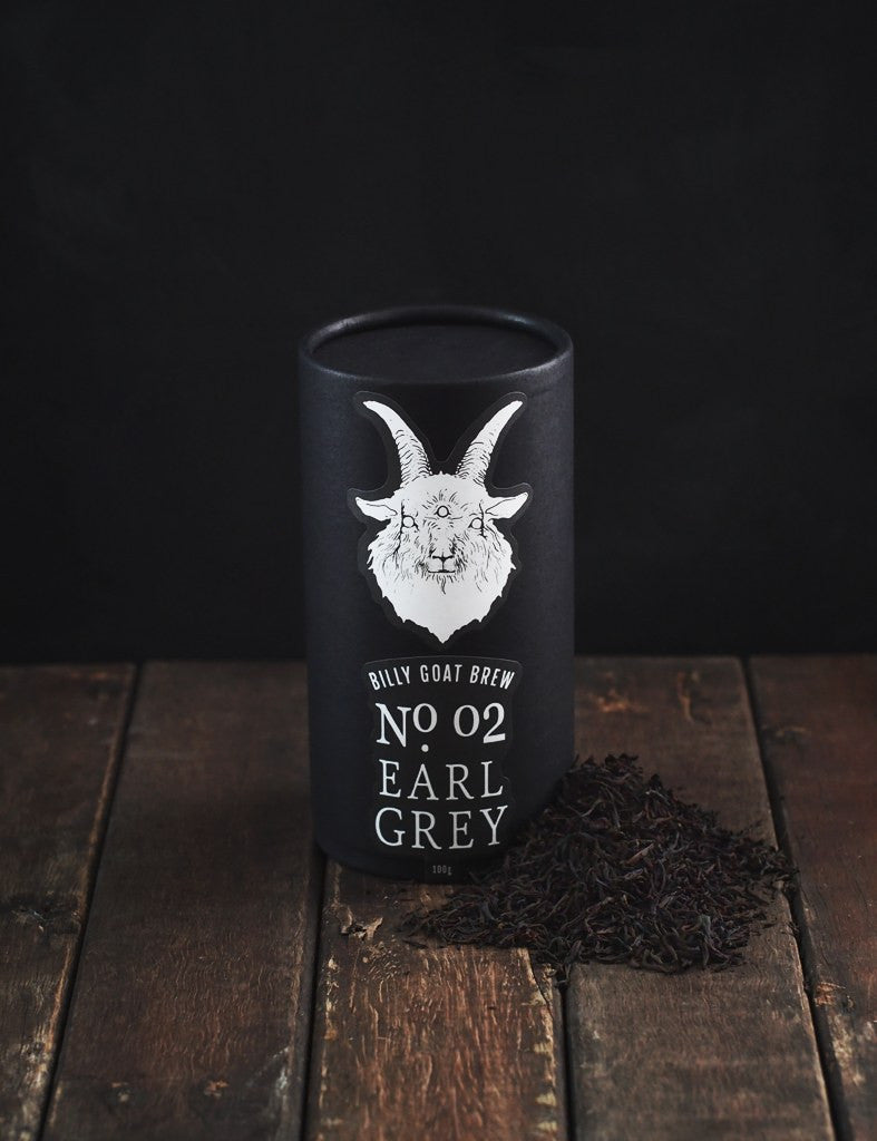 billy goat brew loose leaf earl grey tea canister