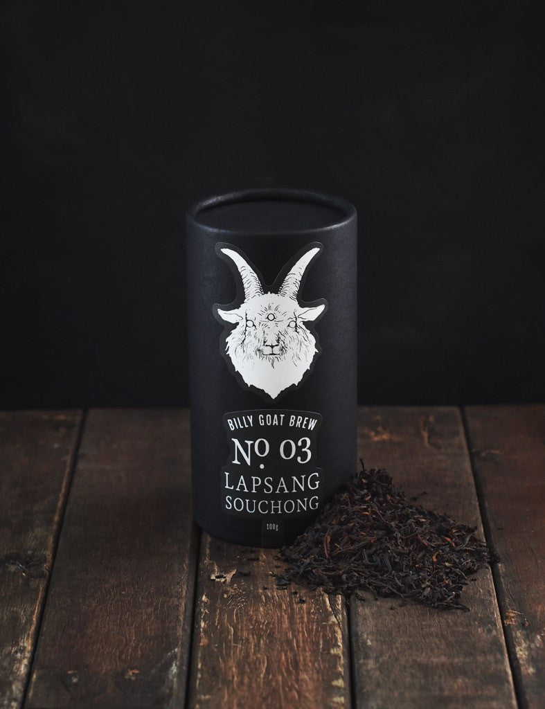 billy goat brew loose leaf tea lapsang souchong canister