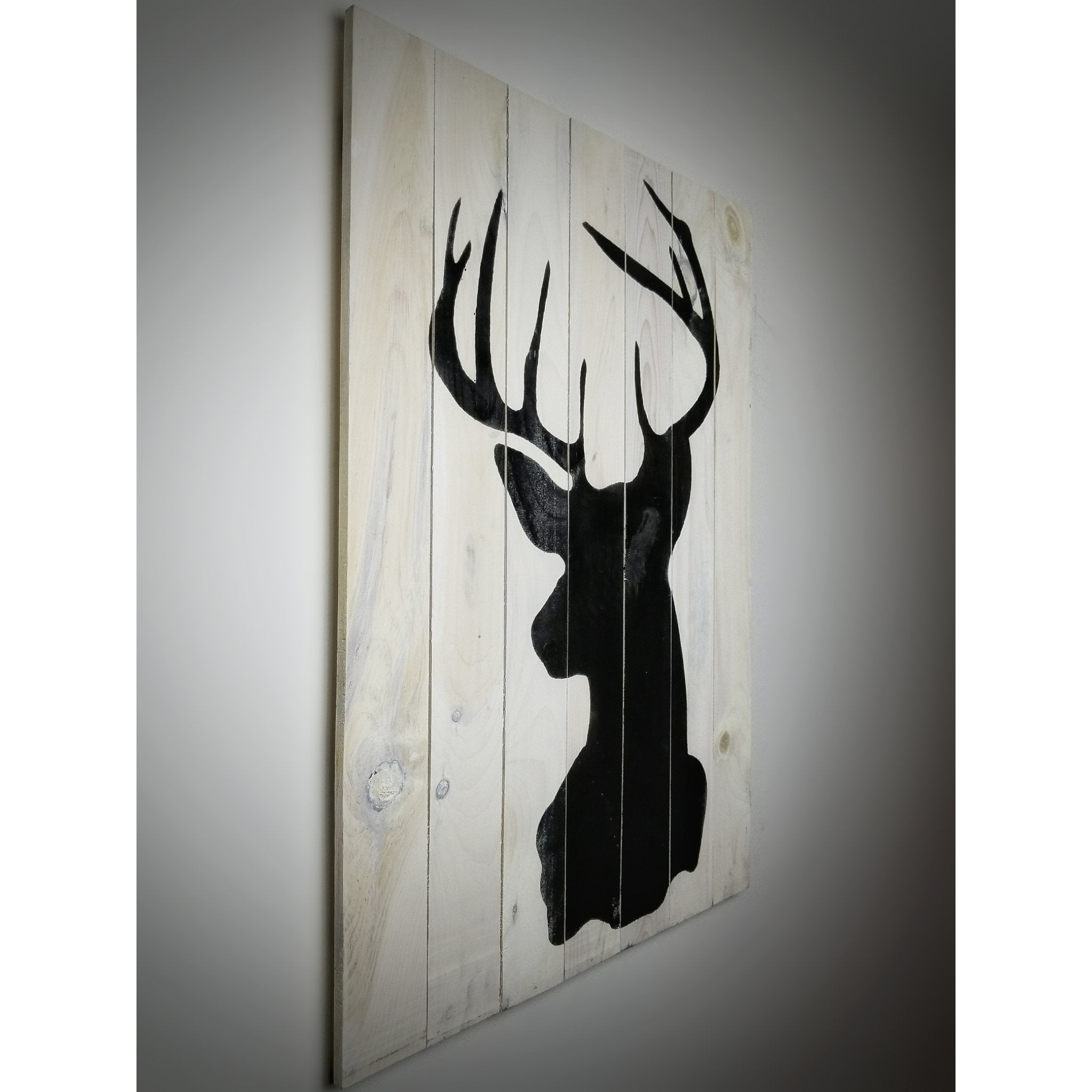 Deer Head on Wood | White Cream | 36in x 25in