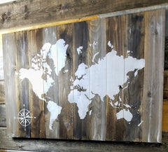 Distressed World Map on Wood