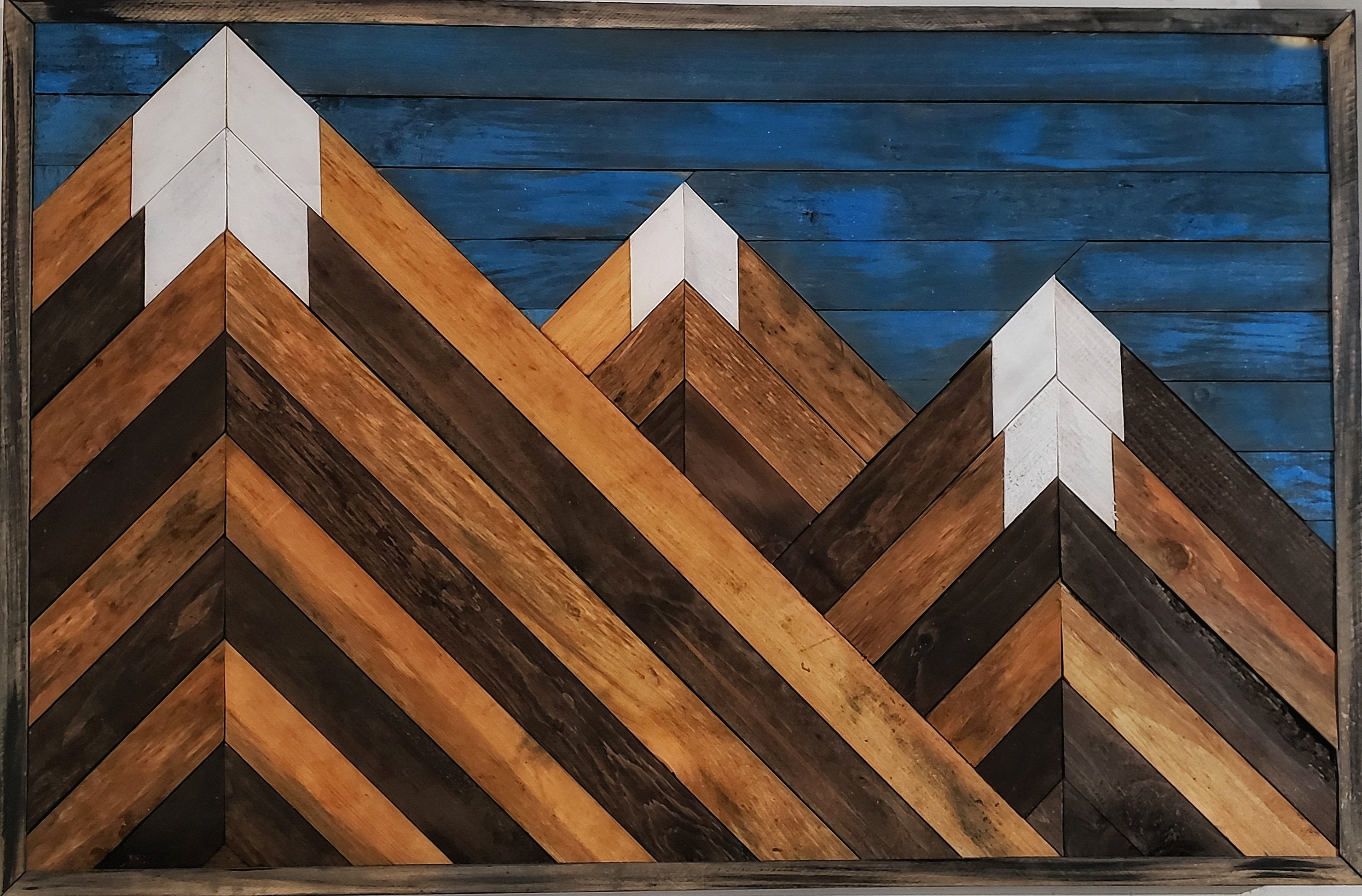Rustic Mountain On Wood