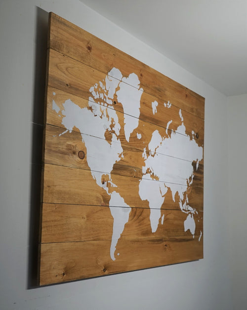 Wood art wood maps world maps on wood world map wood sign light brown world map on wood 36in x 28in aries den gumiabroncs Gallery