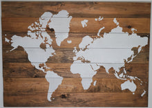 Load image into Gallery viewer, Medium Brown | World Map on Wood | 36 x 28 - Aries Den