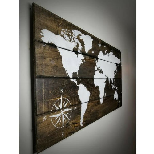 Wood art wood maps world maps on wood world map wood sign dark brown 48in x 28in gumiabroncs Gallery