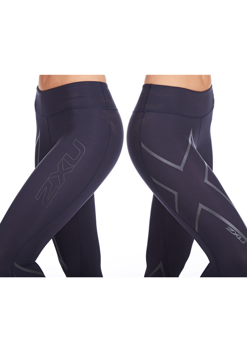 2XU WOMENS HYOPTIK MID RISE COMPRESSION TIGHTS (STEEL/REFLECTIVE BLACK) <BR> WA2864B STL/BRF