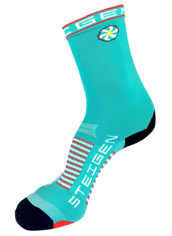 STEIGEN Premium Running Socks - 3/4 Length<br> Aqua Blue