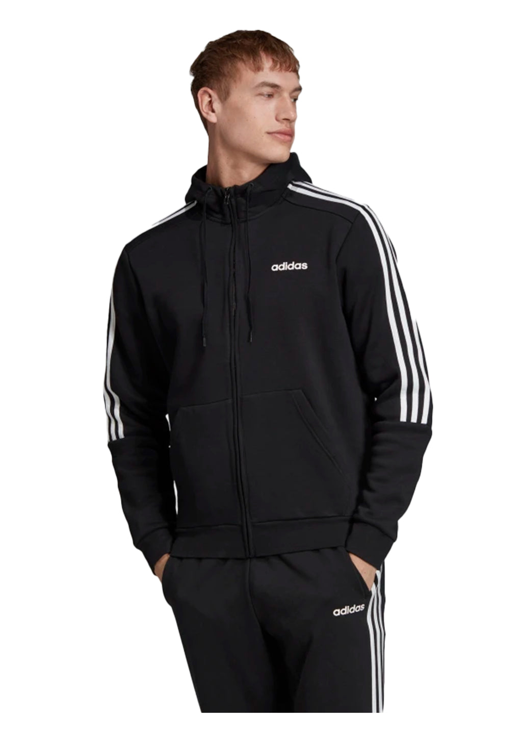 ADIDAS MENS 3 STRIPE HOODED TRACK JACKET <BR>