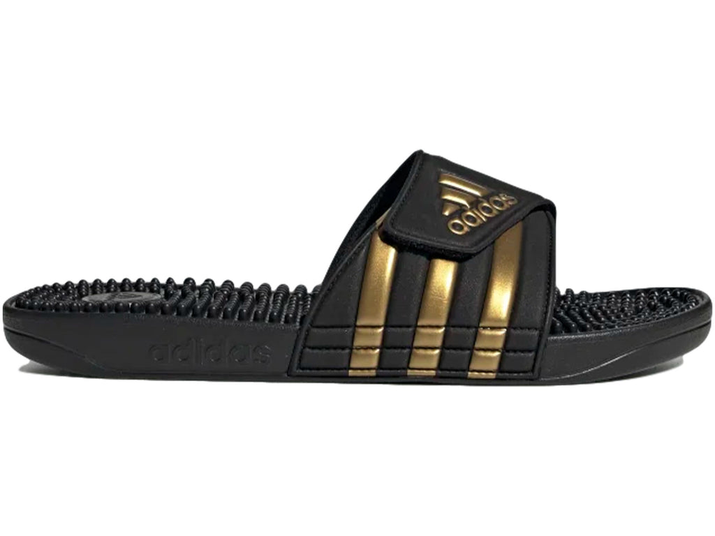 ADIDAS MENS ADISSAGE SLIDE BLACK/GOLD <BR> EG6517