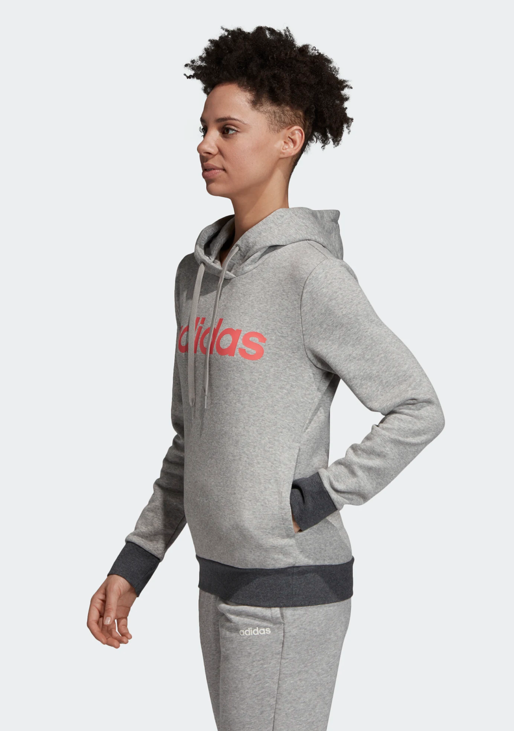ADIDAS WOMENS ESS LINEAR PULLOVER HOODIE <br> DU0646