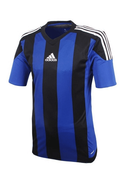 ADIDAS STRIPED 15 JERSEY JUNIOR BLUE AND BLACK <br> S16140,- Jim Kidd Sports