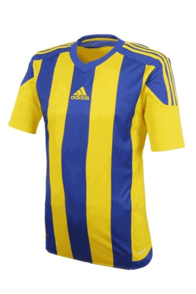 ADIDAS STRIPED 15 JERSEY MENS YELLOW AND BLUE <br> S16142,- Jim Kidd Sports