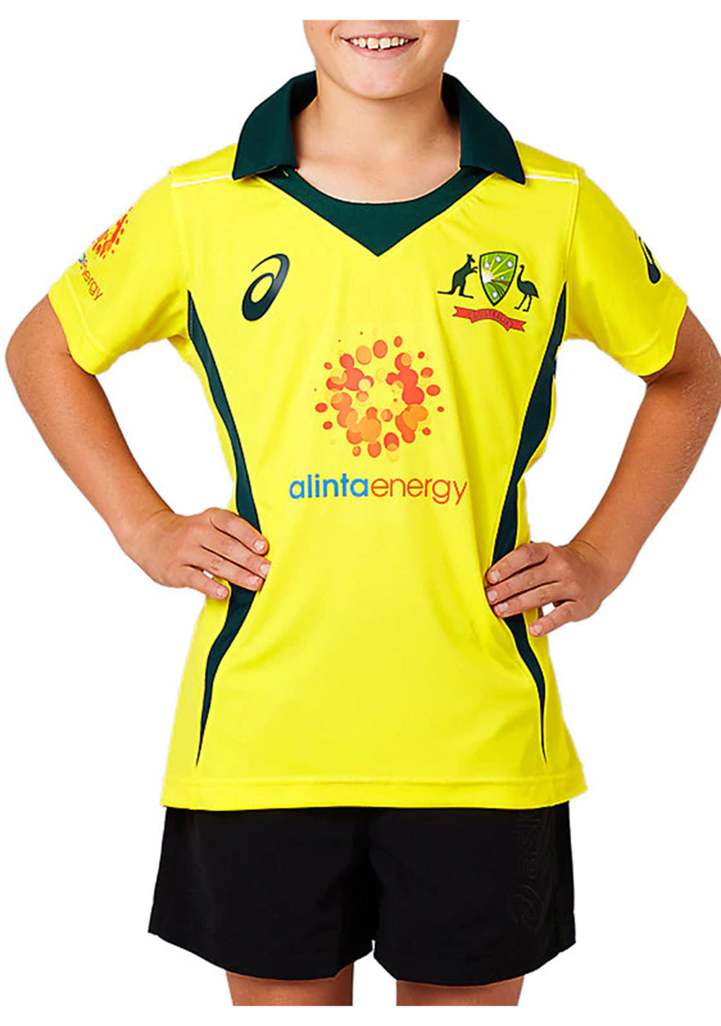 ASICS JUNIOR CRICKET AUSTRALIA 2018 REPLICA ODI HOME SHIRT <br> 2114A002 750